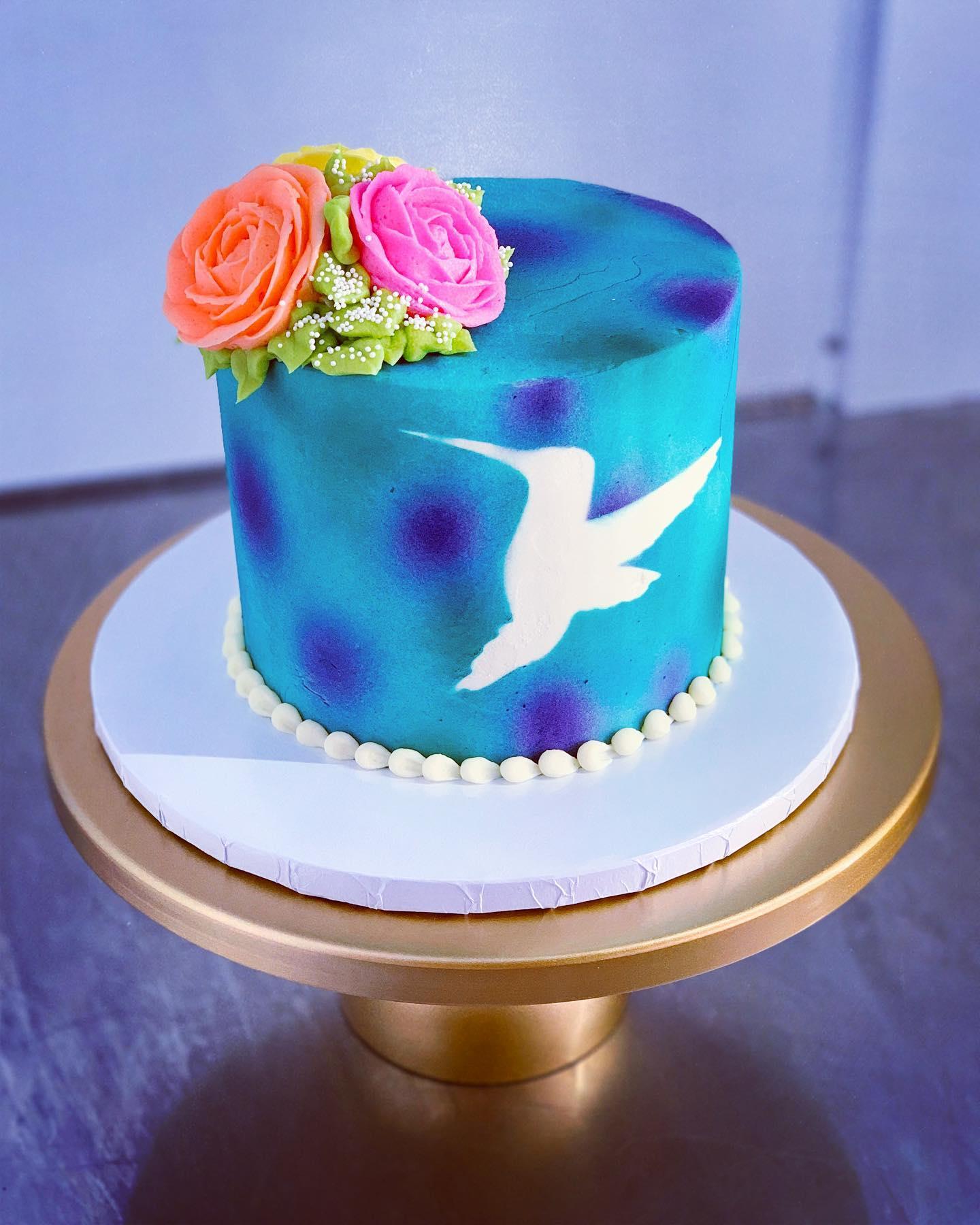 Surprising Hummingbird Silhouette Watercolor Cake Hayley Cakes And Funny Birthday Cards Online Necthendildamsfinfo