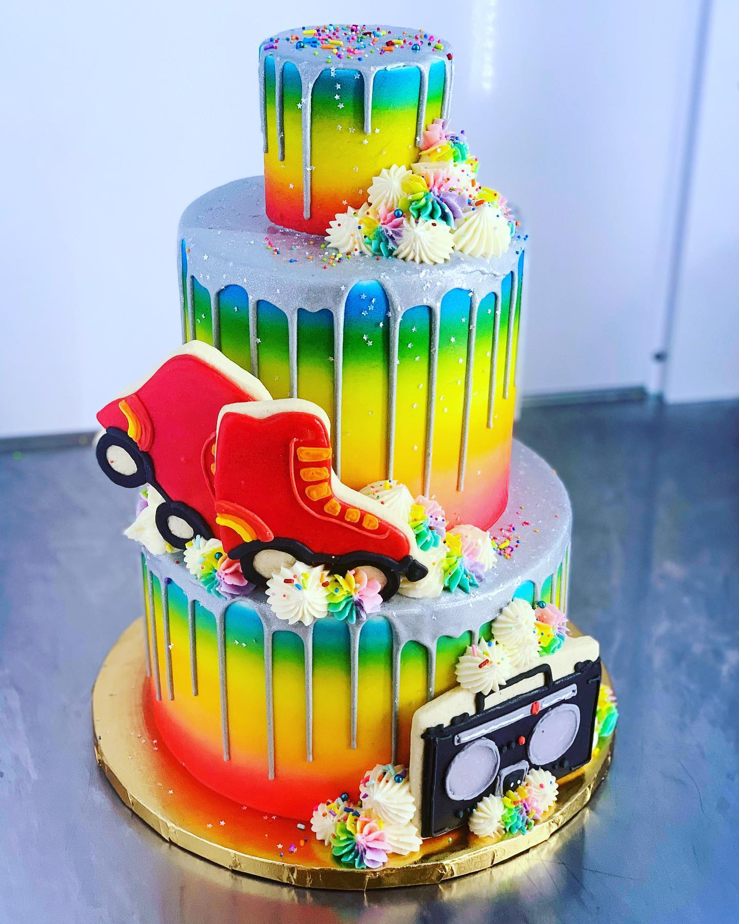 Awesome Retro Rainbow Skate Cake Hayley Cakes And Cookieshayley Cakes Personalised Birthday Cards Petedlily Jamesorg