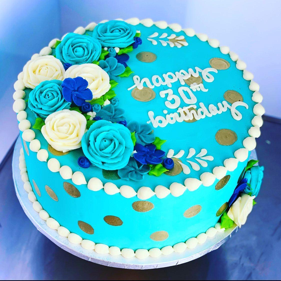 Swell Aqua 30Th Birthday Cake Hayley Cakes And Cookieshayley Cakes And Personalised Birthday Cards Veneteletsinfo